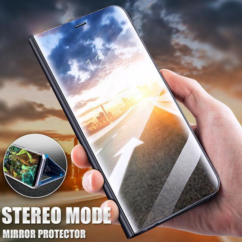 Роскошный Smart Clear Зеркало Flip Кожаная крышка стенд для Samsung A70 A50 Huawei P Smart й Xiaomi Mi A3 фото