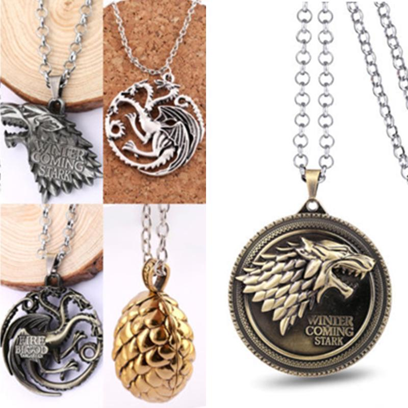Round Wolf Pendant Necklace dog silver colour chain statement game of thrones