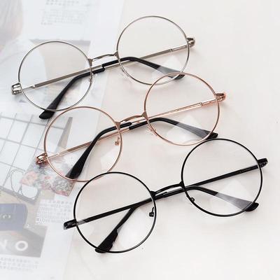 Unisex Sunglasses Vintage Retro Round Circle Metal Frame Eyeglasses Clear Lens