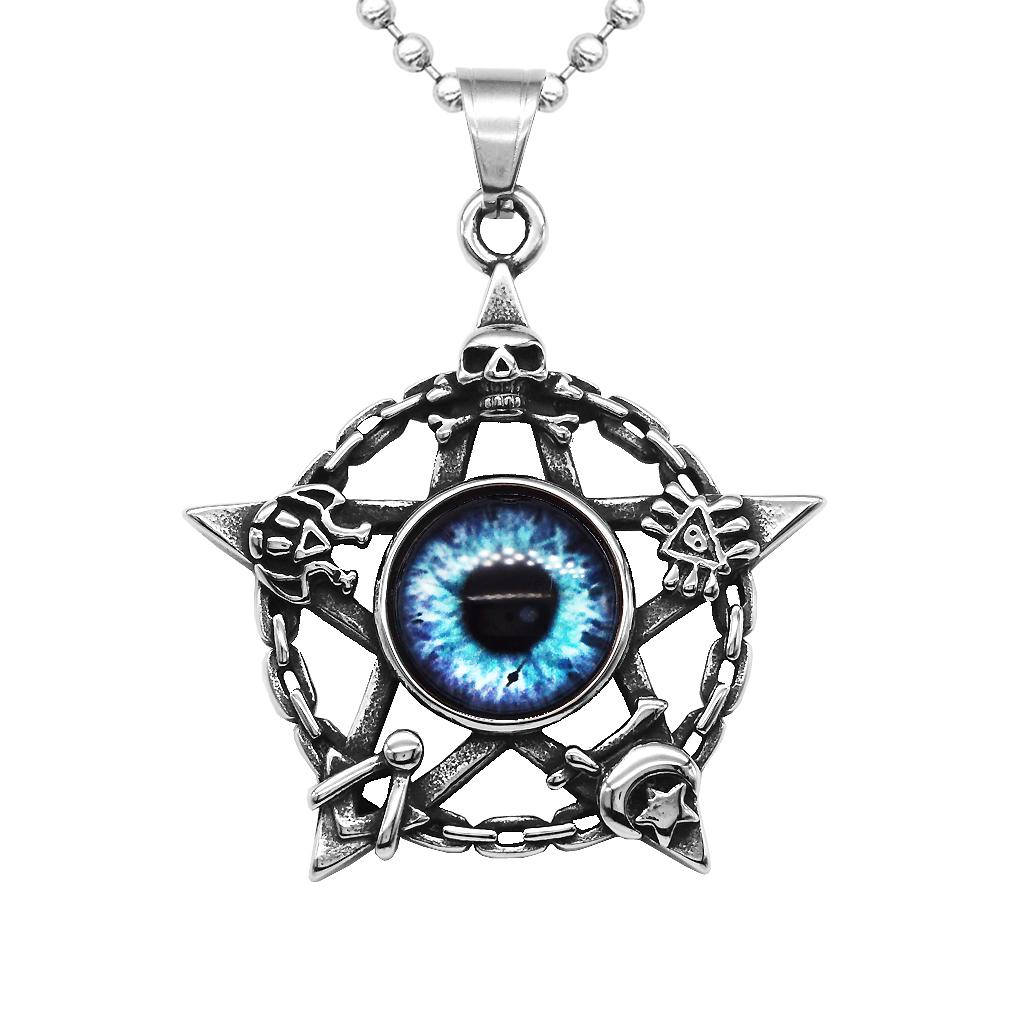 Skull Star Pentacle Amulet Resin Evil Eye Pendant Necklace Ball Chain Jewelry