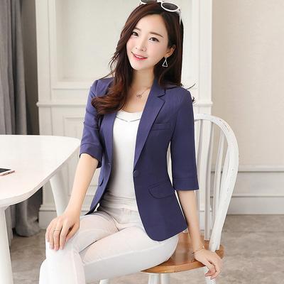 Mujeres delgado 3 cuarto manga traje pequeño mujeres OL Blazer chaqueta  único botón del resorte c48962e1d22