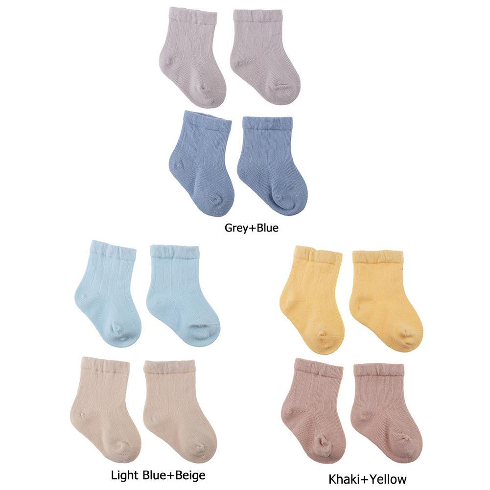 2 Pairs Cute Candy Color Baby Toddler Socks Cotton Socks for Boy Girl 0-6 Month