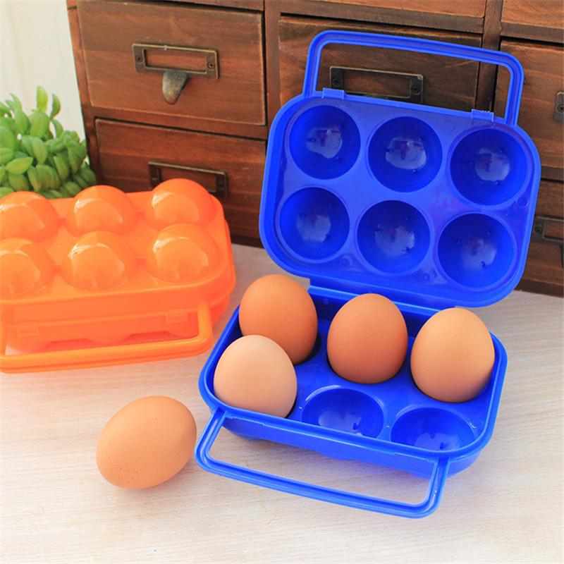 Portable 2//6//12 Egg Plastic Container Holder Folding Handle Case Egg Storage Box