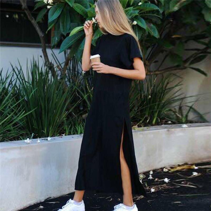 黑色大牌风气质侧面开叉短袖连衣裙长裙