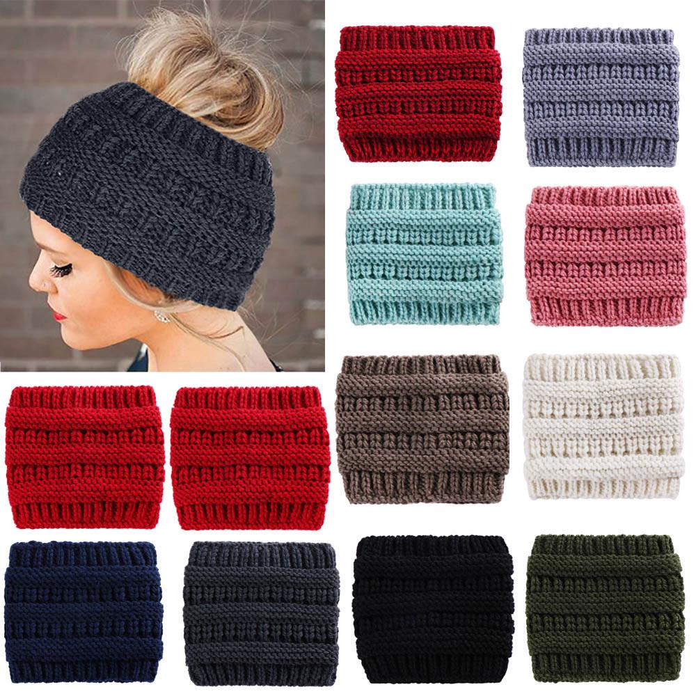 Details about  /Womens Wide Hair Band Winter Warm Rhinestone Headband Knitted Crochet Headwrap
