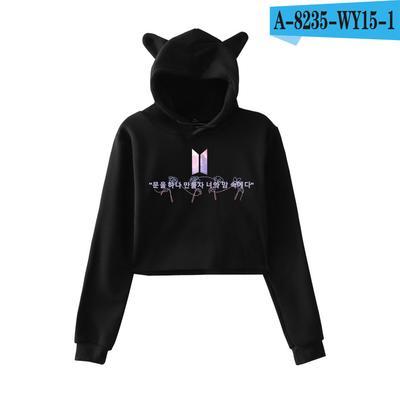 Fashion Women Long Sleeve Crop Top Hoodie BTS Fake Love Printed Hoody  Sweater with Cat Ear d1c05665e12b