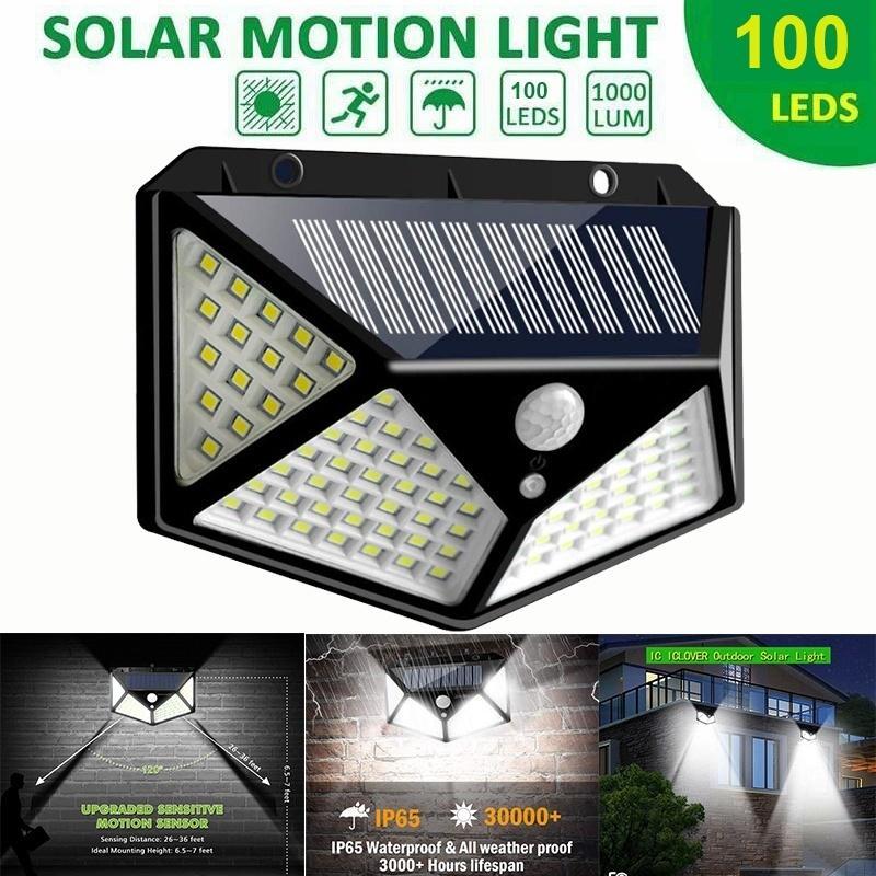 100 LED Outdoor Solar Walkway Lamp Motion Sensor Light Garden Yard Path Security