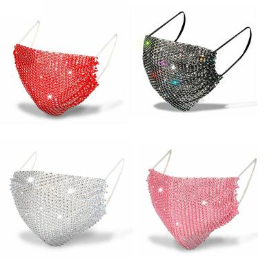 Rhinestone Mask Breathable Net Red Thin Section Grid Party Flash Diamond