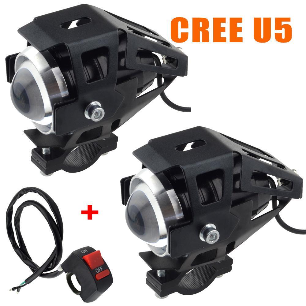 2x 125W U5 Motorcycle LED Headlight Driving Fog Lights Spot Bulbs Lamps /& Switch