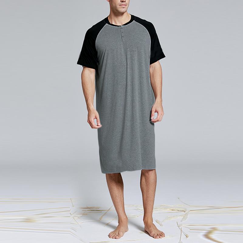 Mens Summer Short Sleeve Cotton Nightgown Sleepwear Pajamas Robe Nightshirt Tops
