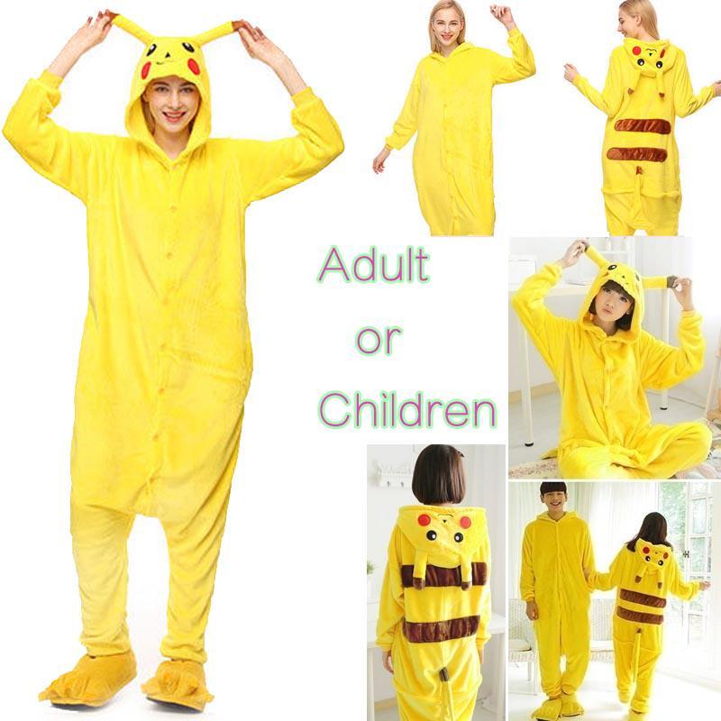 Аниме Onesie пижама детей Взрослый Pokemon Pikachu косплей пижамы