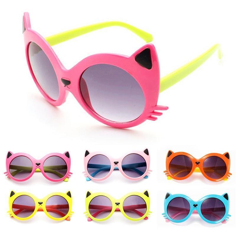 6 couleurs filles garçon dessin animé chat Anti UV400 tout-petit ... 22be611a374a