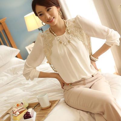 e0a9414a4cc Женская мода корейский стиль летом шифон Кружева случайные блузки ...