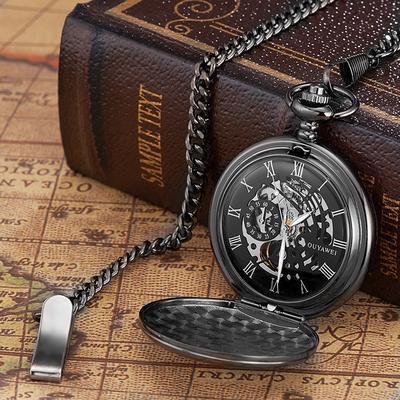 83272687d OUYAWEI Watchs Brand Skeleton Watch Transparent Mechanical Black Though  Face Vintage Pocket Watch