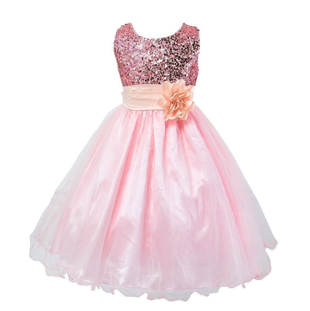 Bebé de la muchacha de flor lentejuelas princesa vestido de fiesta ...