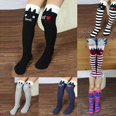 High Elasticity Girl Cotton Knee High Socks Uniform Grey Rabbit Baby Women Tube Socks