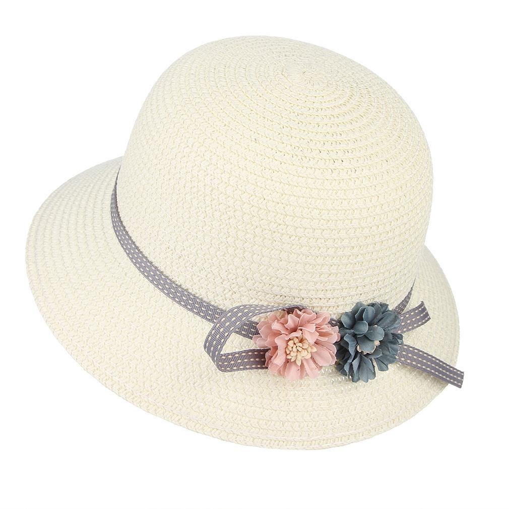 Flower Casual  Bow-Knot Ribbon Beach Cap Sun Hat Straw Hat Outdoor Sunscreen