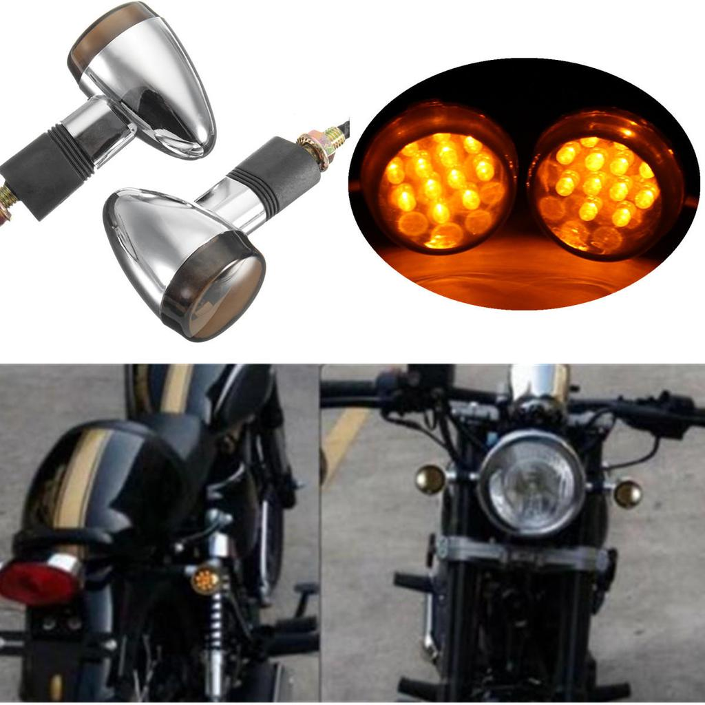 4X MOTORCYCLE LED TURN SIGNALS BLINKER LIGHT INDICATOR AMBER 10MM Thread