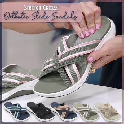 [Coconut Tree] Stretch Cross Orthotic Slide Sandals Casual Slippers Platform Women' Beach Shoes