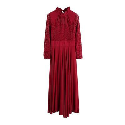 5e5c94cf4d2 Западной женщин элегантный старинные длинный рукав кружева шитье Big Swing  щиколотку Платья шифоновые