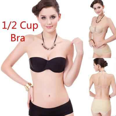 8d46b9958b5e5 Sexy 1 2 Cup Strapless Invisible Bras For Women Seamless Push-Up Brassiere