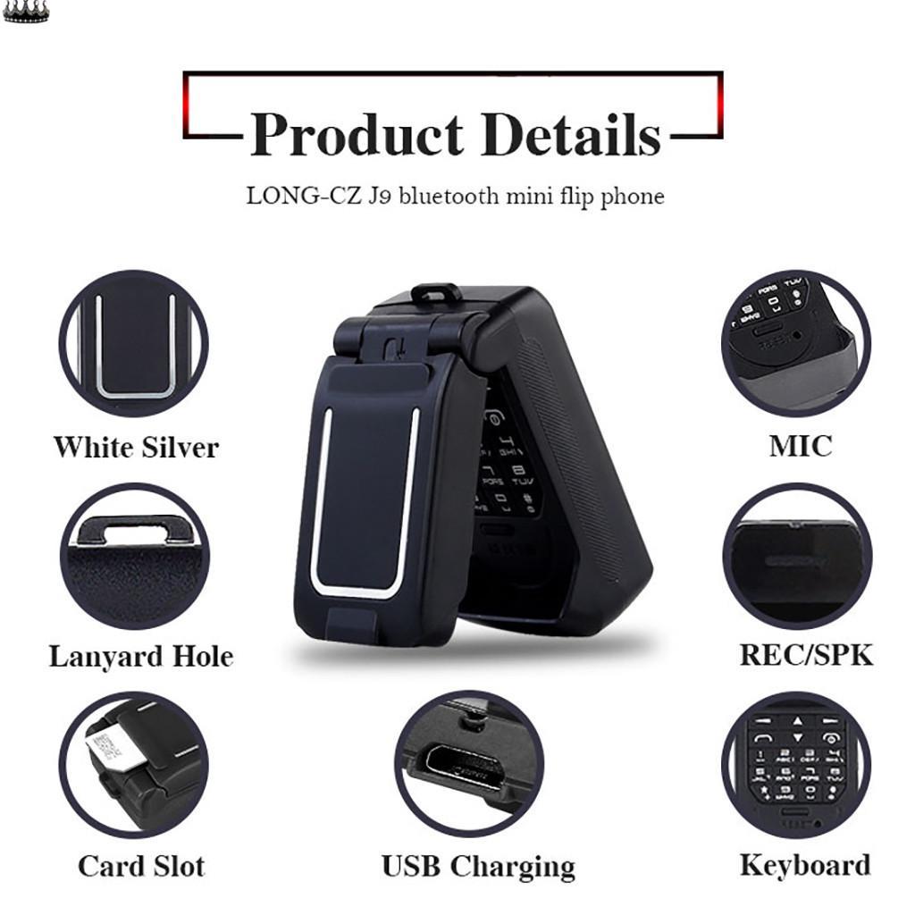 """Мини Flip Мобильный телефон OLE-D J9 0,66 """"Маленький сотовый телефон Беспроводной Bluetooth – купить по низким ценам в интернет-магазине Joom"""