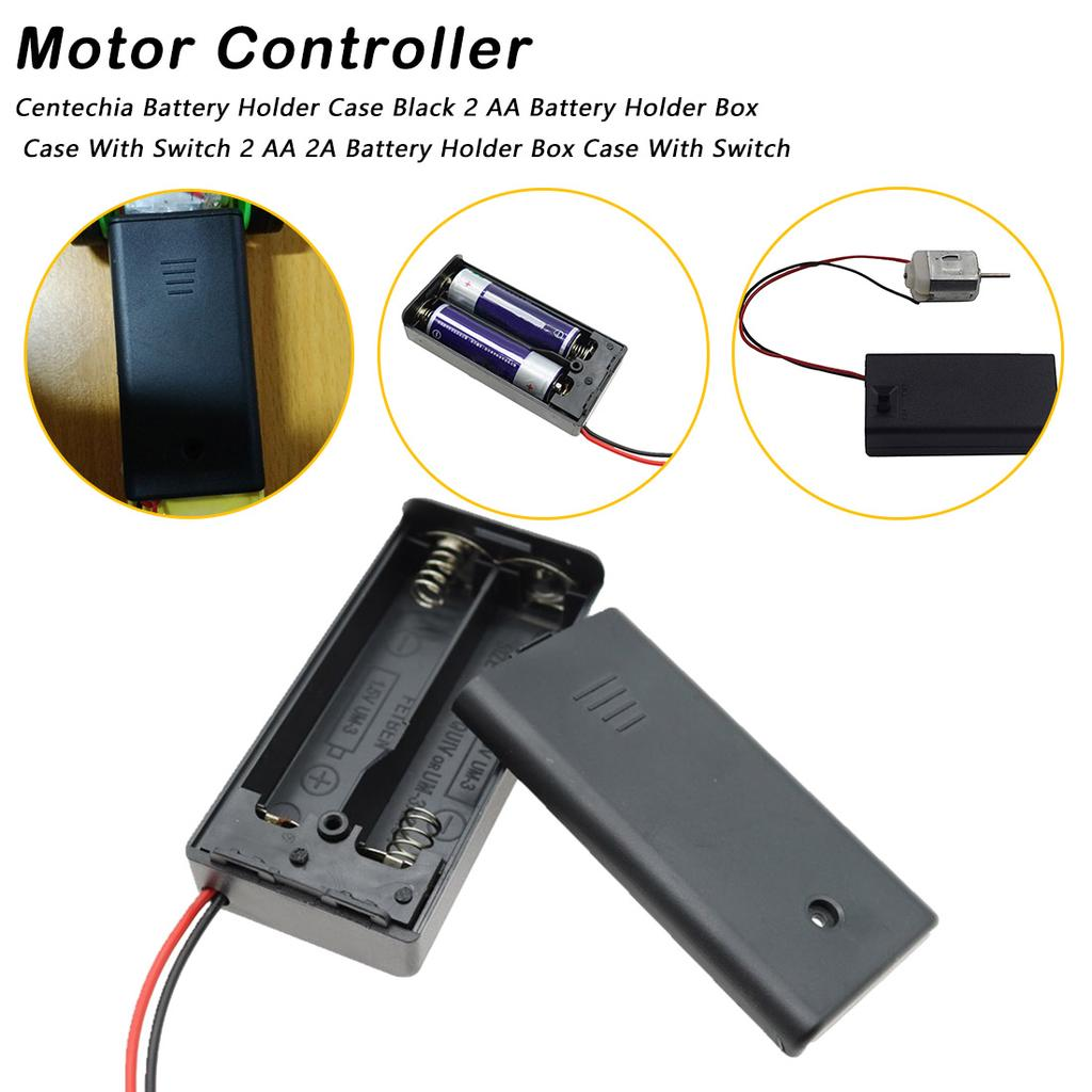 New 2AAA Battery 3V Holder Box Case with ON//OFF Switch Black Battery Cover