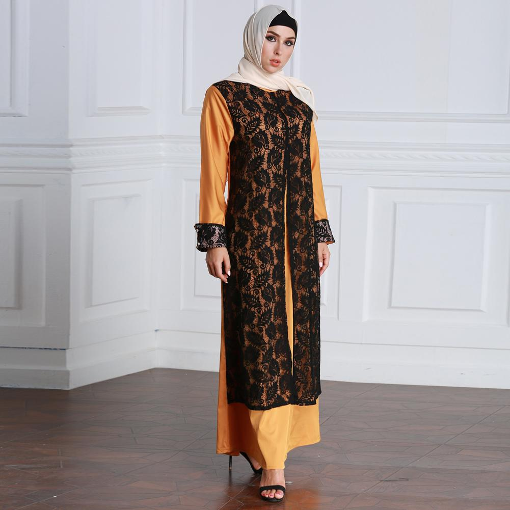 e6a6cb2a560 Women Muslim Dress Lace Long Sleeve Abaya Kaftan Robe Plus Maxi Long ...