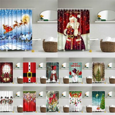 180*180cm 4pcs Bathroom Toilet Cover Christmas Bell Shower Curtain+3PCS Mat Set