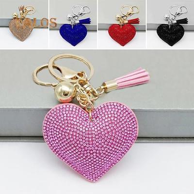 CUSTOM ORDER BOW /& KEYRING BAG BLING Light Pink With Silver Stars//hearts