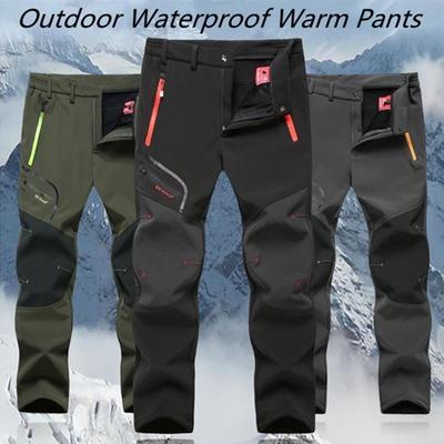 Mens Warm Fur Fleece Linen Overall Hiking Cargo casual pants Military trousers