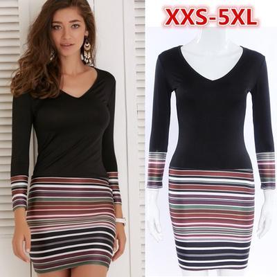 a3f693ab8d1 Прибытие женщин случайных платье v-образным вырезом плюс размер платья  bodycon полосатый элегантные платья