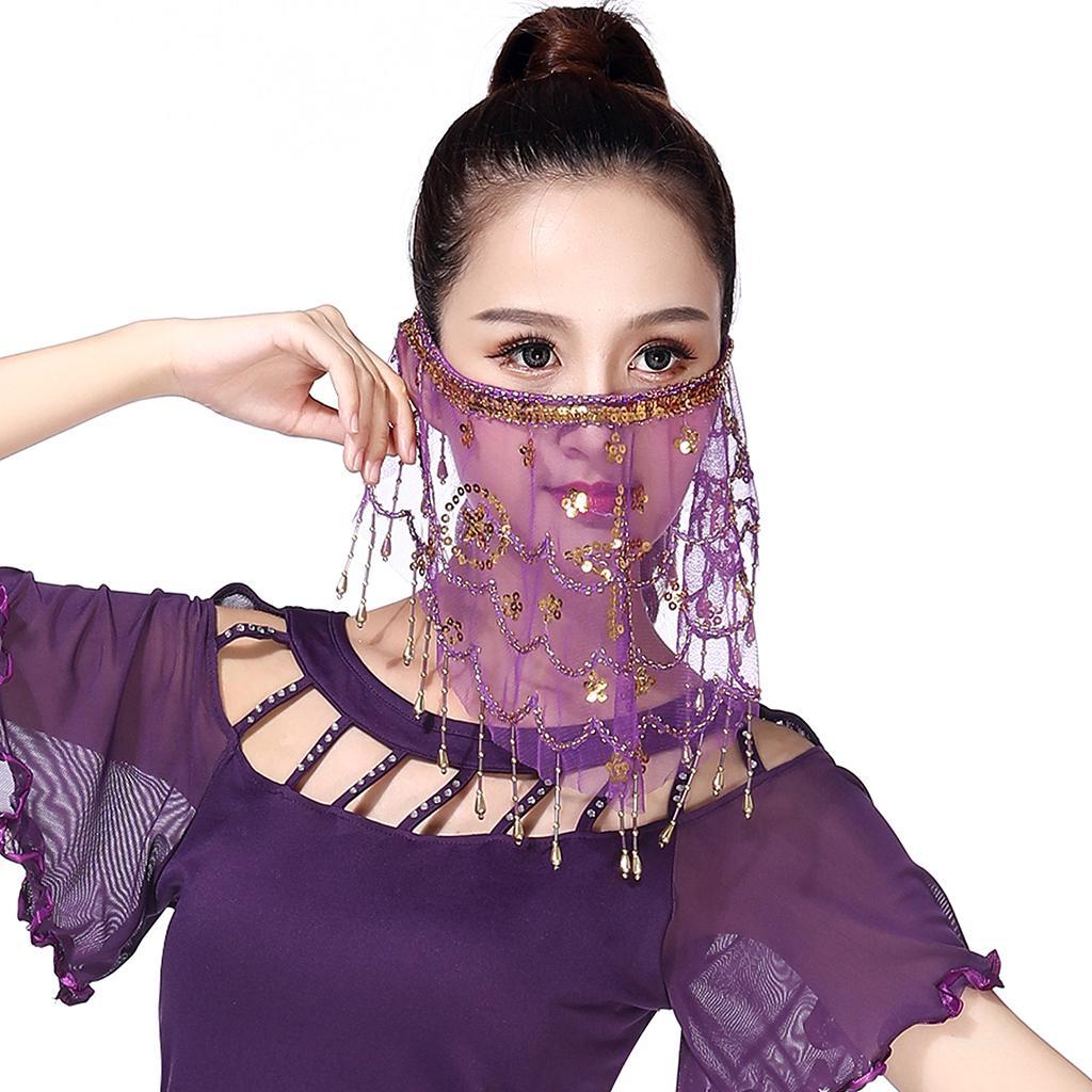 2020 Belly Dance Face Veils Chiffon Sequin Beaded Coins Face Veils Accessories