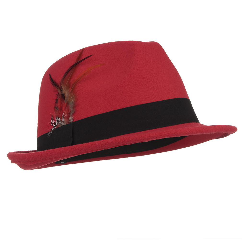 cb5670e4460d7 England Style Men Wool Fedora Feather Decorative Solid Felt Trilby ...