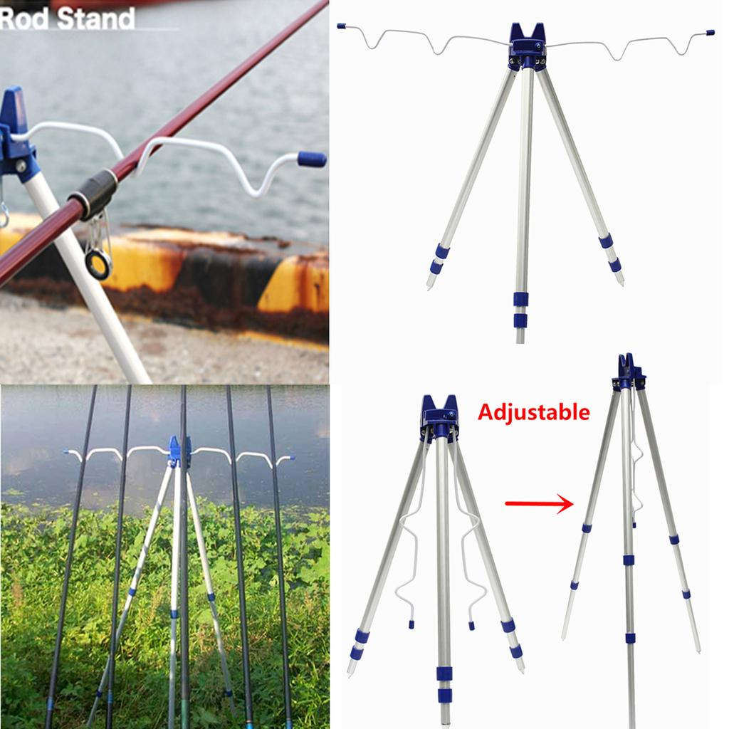 1.2m Aluminum Alloy Telescopic Adjustable Fishing Rod Tripod Stand Holder
