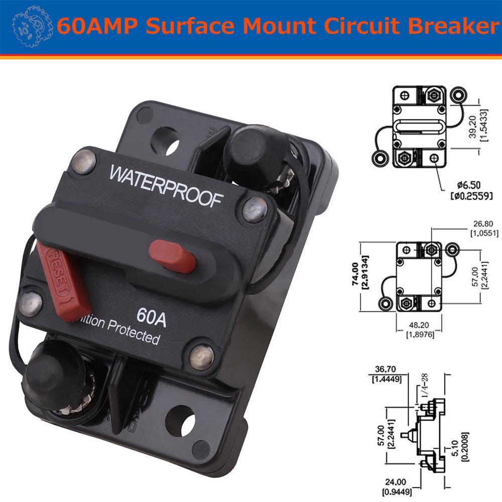 60A-300A AMP Circuit Breaker Dual Battery Manual Reset Waterproof 12~48V Fuse