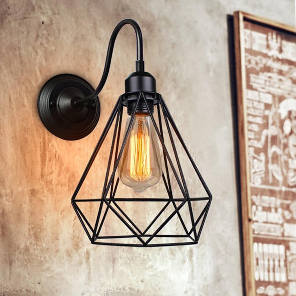 E27 Loft Vintage Pendant Light Lampshade Industrial Metal Cage Light Home  F