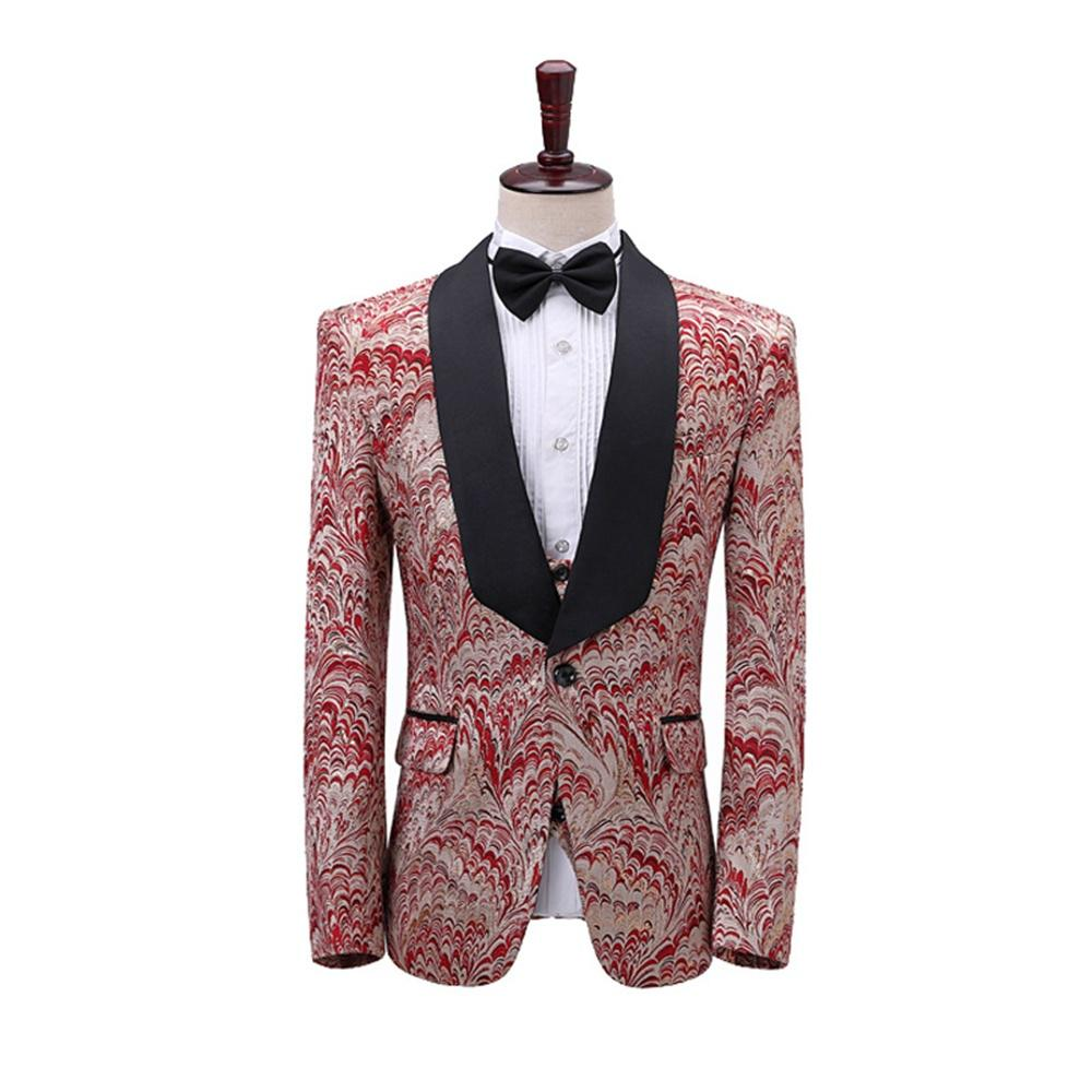 Men 3 Piece Suit Brocade Shawl Lapel Jacket Vest Pants Groom Wedding Prom  Dinner Party Dress Costume - buy from 65$ on Joom e-commerce platform