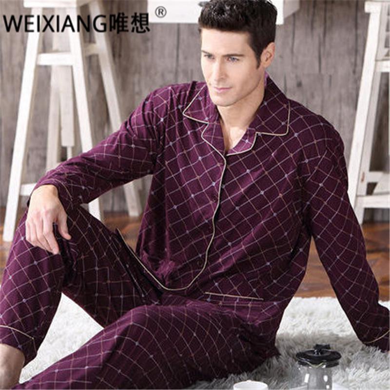 5aa971ee830c4 Вниз зимние мужчины пижамы набор 100% хлопок очередь осенью воротник ...