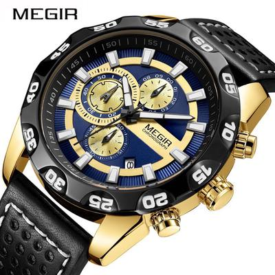 Mens Watches  Brand Luxury MEGIR Chronograph Sport Quartz Watch 2096 Men Clock Leather Wristwatches