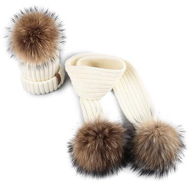 02fb8ac77b3ab FURTALK Kids Ages 2-10 Winter Warm Thick Beanie Hats and Scarves Real Fur  Pom Pom Hat Scarf Set-buy at a low prices on Joom e-commerce platform