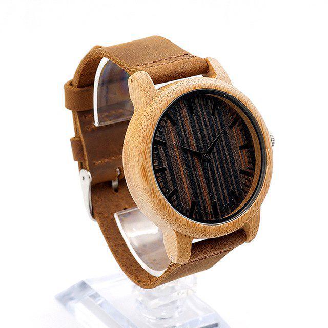 cd09fe05a28c Moda para hombre bambú relojes madera cuero esfera de cuarzo reloj ...