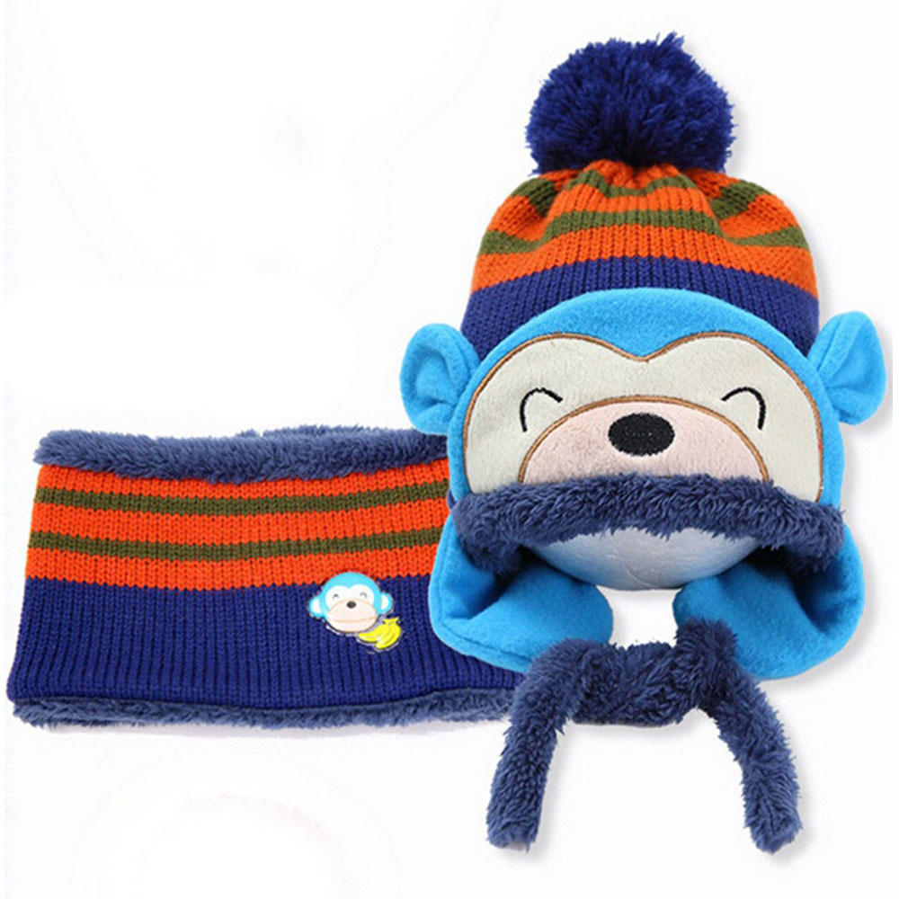 Beanies Caps Monkey Hat Scarf  Set Boys Girls Toddler Hats Knitted Cotton Hats