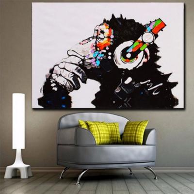 Gorila colorida música moda Frameless aceite pintura pared arte Casa ...