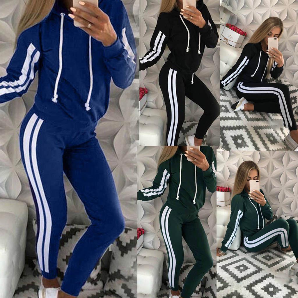 WomenFashion Casual Stripe Hooded Long Sleeve Pullove Sport Tops+Long Pants Set