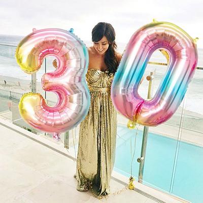 32/'/' Rainbow Crown Number Foil Balloon Digit 0-9 Balloon Birthday Party Supplies