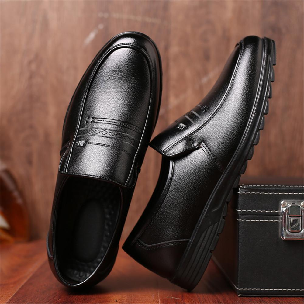 Men/'s Leather Round Toe Office Shoe