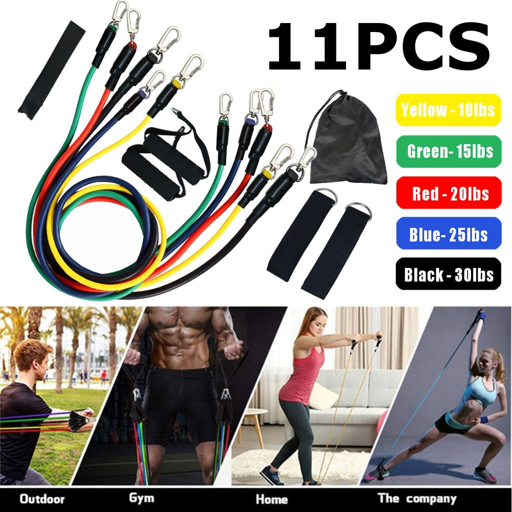 Fitness Exercise Pull Rope Tube Resistance Elastic Stretch Yoga Gym Band Charm