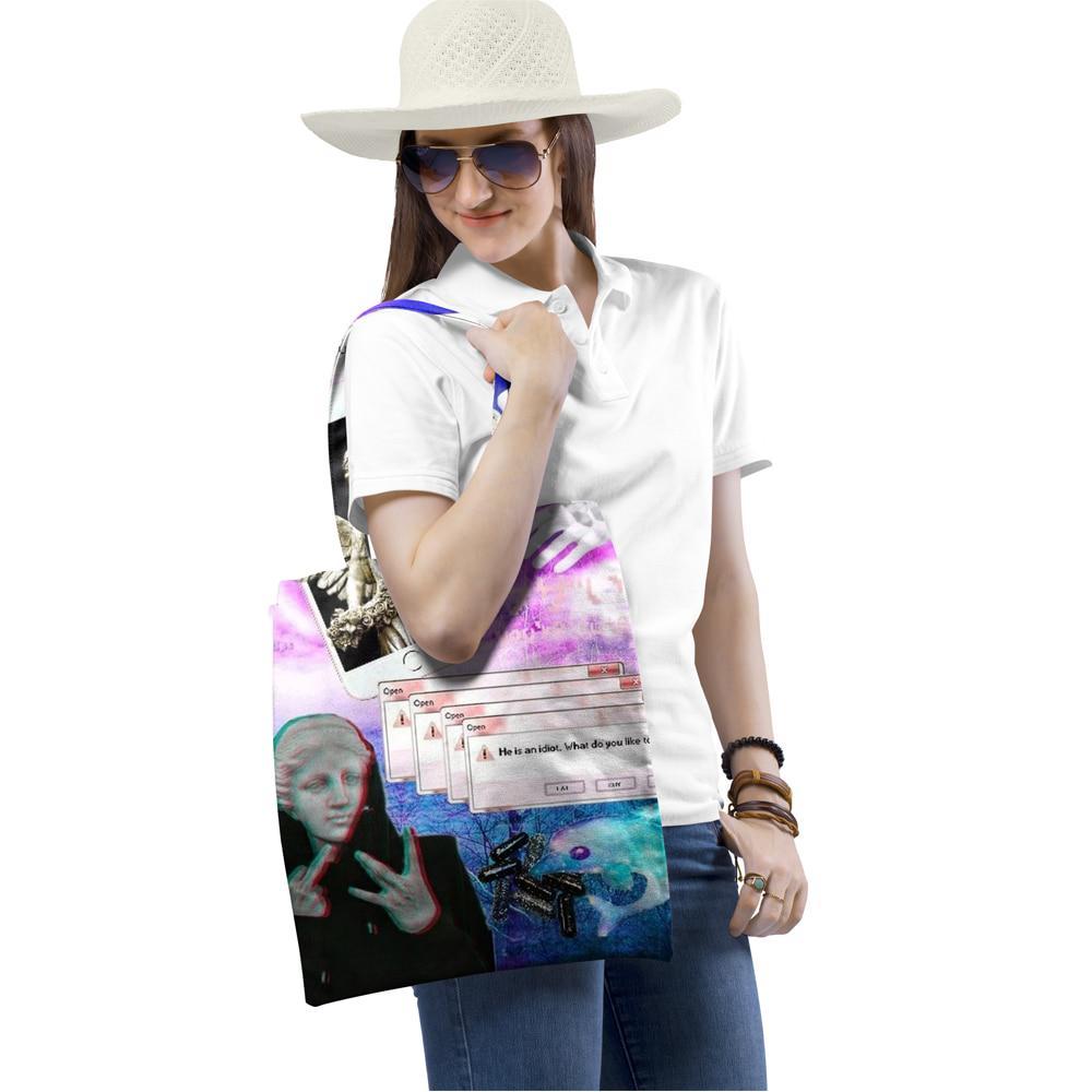 LINGSFIRE Women Canvas Tote Bag Girls Women Shoulder Handbags Capacity Shopping Bag Beach Bag Simple Printed Ladies Casual Chic Cross Body Bag for Travel Daily Use