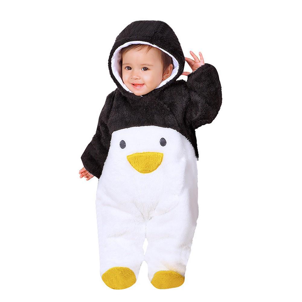 XEDUO Newborn Baby Girl Boy Solid Cartoon Bear Velvet Hooded Jumpsuit Romper Clothes